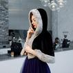 Robe de mariée mariage manteau épais manteau châle noir