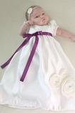 Robe de baptême Orné de Nœud à Boucle Princesse Col ras du Cou