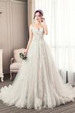 Robe de mariée Longue Perle Elégant Épaule Dégagée Chaussez A-ligne