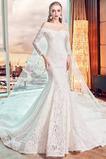 Robe de mariée Sirène Rivage Lacet Couvert de Dentelle Manche de T-shirt