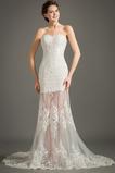Robe de mariée Glissière Sans Manches A-ligne Naturel taille Longue