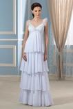 Robe de mariée Mousseline de soie Col en V Empire Plage Traîne Courte