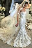 Robe de mariée Sans Manches Salle des fêtes Sirène Col en Cœur Triangle Inversé