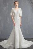 Robe de mariée Dentelle Epurée Longue De plein air Col en V Manche Courte