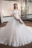 Robe de mariée Naturel taille Longue A-ligne Automne Épaule Dégagée