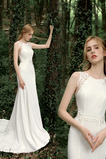 Robe de mariée Fourreau Automne Gazer Bouton noble Col ras du Cou