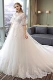Robe de mariée Manche Courte Poire De plein air Dentelle Col en V