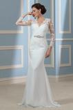 Robe de mariée Manche Longue Zip Dentelle Rivage Hiver Satin