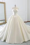 Robe de mariée A-ligne Traîne Longue Salle Printemps Soie Dos nu