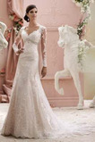 Robe de mariée Modeste Portrait Dentelle Empire Haut Bas Gaze
