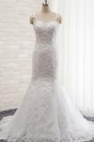 Robe de mariée Sirène Bretelles Spaghetti Perle Sans Manches Tissu Dentelle