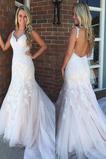 Robe de mariée Décolleté Dans le Dos Col en V Automne Sans Manches