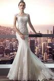 Robe de mariée Sirène Couvert de Dentelle Satin Cérémonial Manche Courte
