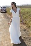 Robe de mariée Nœud à Boucles Plage A-ligne Tissu Dentelle Simple