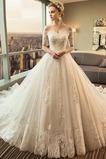 Robe de mariée Cathédrale a ligne Manche Courte Formelle Manquant