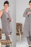 Robe de mère pantalon de costume Chic Manche de T-shirt Haute Couvert