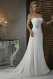 Robe de mariée Fourreau plissé Glamour col coeur Traîne Mi-longue