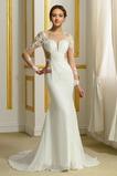 Robe de mariée Sirène Traîne Moyenne Plage Chiffon Zip Col Bateau