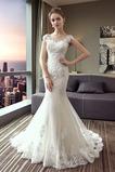 Robe de mariée Sirène Épaule Dégagée Manquant Manche Courte Elégant