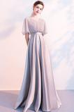 Robe de Soirée Manche Courte Zip Corsage Avec Bijoux Perle Plus la taille
