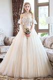 Robe de mariée Désirable A-ligne Fourreau Avec Bijoux Lacet Manche Courte