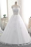 Robe de mariée A-ligne Appliques Sans Manches Traîne Courte Naturel taille