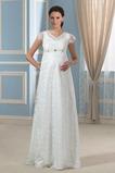 Robe de mariée Orné de Nœud à Boucle Manche Courte Fermeture éclair