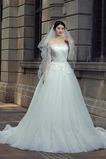 Robe de mariée Tulle Épaule Dégagée Formelle A-ligne Longue Milieu dos