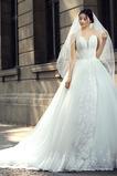 Robe de mariée Sans Manches Appliquer Manquant Décolleté Dans le Dos