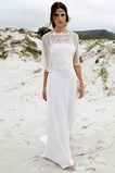 Robe de mariée Zip Plage Avec la veste A-ligne 1/2 Manche Naturel taille