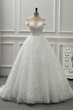 Robe de mariée Tulle A-ligne Traîne Longue Salle des fêtes Décolleté Dans le Dos
