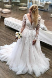 Robe de mariée Manche Longue Bouton Décolleté Dans le Dos Traîne Longue