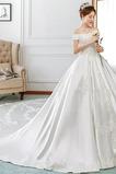 Robe de mariée Automne Formelle Traîne Royal Eglise Manche Courte