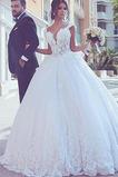 Robe de mariée Automne Lacet Mancheron Col en V Foncé Sans Manches