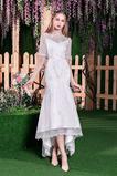 Robe de mariée Elégant Glissière Naturel taille Sirène Longueur Mollet