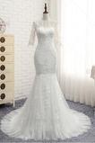 Robe de mariée Manche Aérienne Zip Mince Elégant Tulle Longue