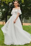 Robe de mariée Jardin A-ligne Naturel taille Au Drapée Zip Manche Courte