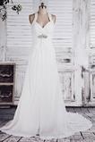 Robe de mariée Elégant Mousseline de soie Licou Perlé Jardin Sans Manches