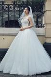 Robe de mariée Tulle Col ras du Cou Appliques Longueur ras du Sol