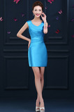 Robe de Cocktail mini Glamour Sans Manches Norme Fourreau plissé