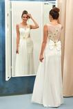 Robe de mariée Satin Mince Fourreau plissé Naturel taille Rivage
