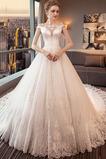 Robe de mariée Col Bateau Lacet A-ligne Formelle Longue Salle