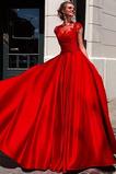 Robe de Bal A-ligne Perler Printemps Longue Satin Naturel taille