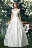 Robe de mariée A-ligne Formelle Manche Courte Satin Col Bateau