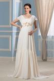Robe de mariée Empire Chiffon Elégant Col Carré Orné de Rosette