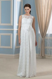 Robe de mariée Simple Ceinture en Étoffe Gaze taille haute Col Bateau