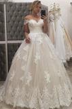 Robe de mariée a ligne Zip Longue Épaule Dégagée Satin Sans Manches