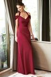 Robe de Soirée Manche Courte Longue Serré Attrayant Bordeaux Fourreau plissé