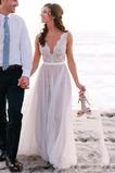 Robe de mariée Naturel taille De plein air Col Bateau Couvert de Dentelle