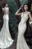 Robe de mariée Tulle Couvert de Dentelle Bouton Sans Manches Sirène